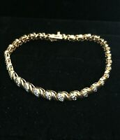 Vintage Sterling Silver Tennis Bracelet Two Tone Gold Tone Lobster Clasp Bright