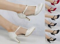 LADIES LACE MID HEEL ANKLE STRAP T BAR BRIDAL WEDDING SPECIAL OCCASION SHOES 3-8