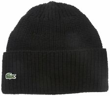 a29c52edffc Lacoste Black Cardigan Rib Knitted Hat