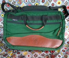 VTG JANSPORT COMPUTER LAPTOP MESSENGER BAG GREEN w/ LEATHER TRIM SHOULDER STRAP