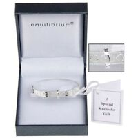EQUILIBRIUM  SILVER PLATED HEART CHRISTENING BRACELET BANGLE BABY 7081