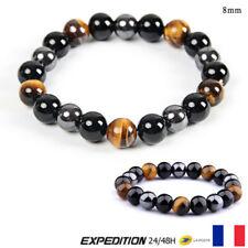 Bracelet Bijoux Naturel Noir Obsidienne Hématite Oeil de Tigre Perles 8mm #1