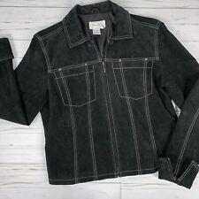 Live A Little Womens Medium Jacket 100% Leather Black Lined Long Sleeve Zip