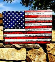 *USA Flag Pledge of Allegiance Metal Sign Wall Decor Man Cave Bar US Pres Trump*