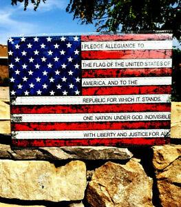 *USA Flag Pledge of Allegiance Metal Sign Wall Decor Man Cave Bar Patriot Gun*