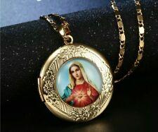 Virgin Mary Necklace Locket gold plated Madonna de la vigen maria our lady 929