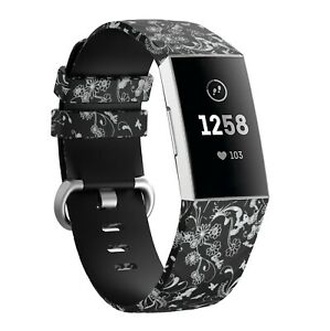 for Fitbit Charge 3 & 4 Watch Strap Pattern Metal Schnalle Fitness Tracker Band