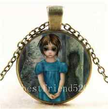 Vintage Keane Big Eye Cabochon Glass Bronze Chain Pendant  Necklace
