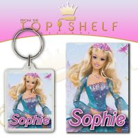 Personalised Barbie childrens kids keyring bag tag