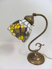 Lampada da tavolo in ottone brunito con vetro Tiffany abat-jour GIRASOLI