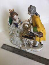 "Antique German Dresden Lace Porcelain Figurine Couple Pianoforte Violin  6"""