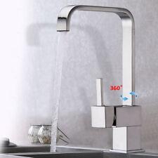 Kitchen Sink Mixer Tap Modern Square Design Chrome Brass Basin Swivel Spout New