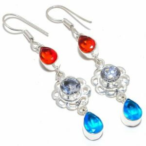 """Blue Topaz & Garnet Gemstone 925 Sterling Silver Jewelry Earring 2.9"""" S192"""
