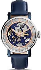 Women's Fossil Original Boyfriend Automatic Blue Leather Watch ME3136