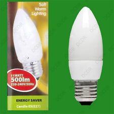 2x 11W (=40W) Low Energy CFL Candle Light Bulb, ES E27 Power Saving Lamp