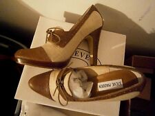 STEVE MADDEN Reilly Natural Oxford Heels Pumps Size 7.5 M Faux Reptile Linen NIB