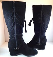 Michael Shannon Womens Black Suede Knee High Boots size 10 M
