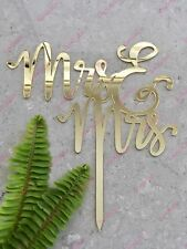 Mrs & Mrs Lesbian Acrylic Gold Mirror Wedding Cake Topper