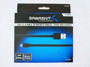 Sabrent CB-UM61 USB A-Male to Micro B-Male 1ft 6-Pack