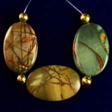 3Pcs/Set 30x20x4mm Nice Natural Colorful Picasso Jasper Oval Pendant Bead S46592