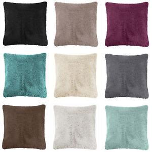 "SET OF 4 Super Soft Teddy Bear Cushion Covers Fleece Faux Fur 60x60cm 24""x24"""