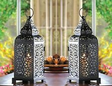 "Black Moroccan Wedding Hanging Candle Lantern 14"" tall (Set of Two) 13176"