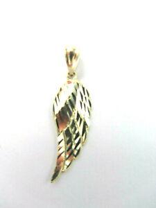 10k Yellow Gold Fine Jewelry Solid Diamond Cut Angel Wing Pendant