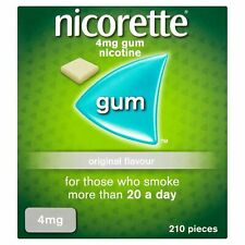 210 Nicorette Original Flavour 4mg Nicotine Coated Sugar Gum 2020
