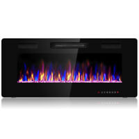 "42"" Electric Fireplace Recessed Ultra Thin Wall Mounted Heater Multicolor Flame"