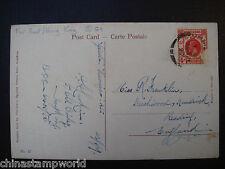 old china postcard fm HK to UK dd 24 April 1927,damaged stamp,creased