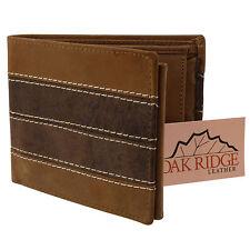 Neu Oakridge Antikleder Herren Klassisch Zweifach Faltbares Portemonnaie
