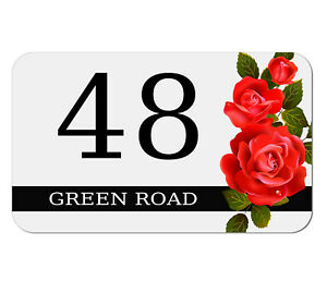 House Gate Sign Plaque Door Number Personalised Name Plate ROSES