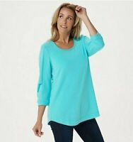 H by Halston French Terry Scoop-Neck Tunic with 3/4- Pleated Sleeves Small Blue