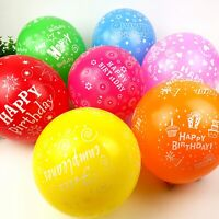 "25pcs 12"" Mixed Color ""Happy Birthday"" Printed Latex Balloons Celebration Party"