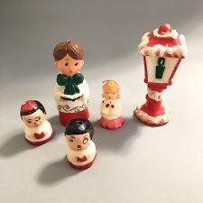 Vintage Christmas Wax Candles Carolers Lot 5