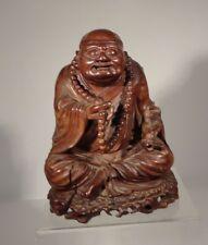 Antique Chinese Japanese Carved Hardwood Happy Smiling Buddha Huali Hardwood