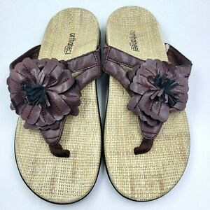 Orthaheel Talia Brown Floral Comfort Orthotic Flip Flop Thong Sandals Women's 8
