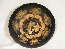 ANTIQUE PAPIER MACHE BLACK LACQUERED FOOTED TRAY - CHINESE DESIGNS