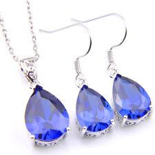 Natural Gemstone Wholesale Set Teardrop Swiss Blue Topaz Silver Pendant Earrings