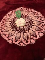 Vintage Hand Crocheted Pink Dollie /Flower Ctr Delicate/Intricate Needle WK Fine