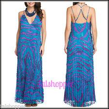 NWT M 8-10 $345 Hale Bob Blue Printed Embellish Pleated Maxi Sexy Isabella Dress