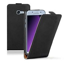 SLIM BLACK Samsung Galaxy A3 2017 Leather Flip Case Cover  For Mobile Phone