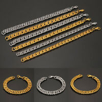 Unisex Gold Silver Stainless Steel Plated Bracelet Bangle Wristband Cuff Chain