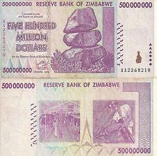 Zimbabwe 500 Million Dollars 2008 AA/ AB  Circulated, 50 &100 Trillion Series