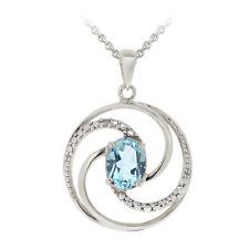 "925 Silver 1.5ct Blue Topaz & Diamond Accent Swirl Circle Necklace, 18"""