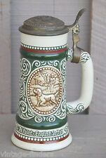 Old Vintage Avon Beer Stein w Lid Hunting Fishing Scene Brazil Fine Pewter Top