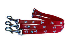 red black blue or purple with white paw print chihuahua 3 way coupler lead