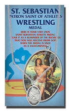 Wrestling medal necklace, St. Sebastian with a Free Prayer Card