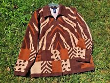 SALE @ Nearly New DENIM & CO Zebra Brown Leopard Jacket Coat Blazer Womens Sz M