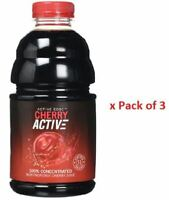 Cherry Active Montmorency Cherry Juice 100% Super Concentrate 946ml x Pack of 3